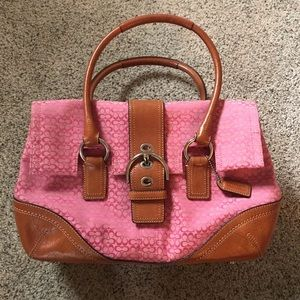 Bright pink and saddle brown leather Coach bag